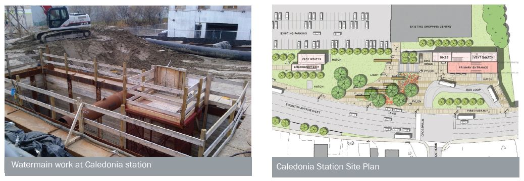 Watermain work at Caledonia station