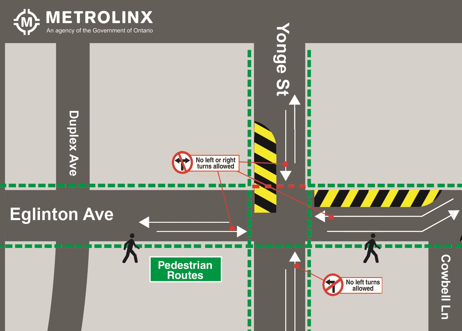 Map showing traffic and pedestrian details for Eglinton Station utilities relocations stage 1