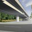 View of underneath the elevated guideway