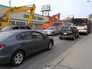 One lane in each direction will be maintained on Eglinton