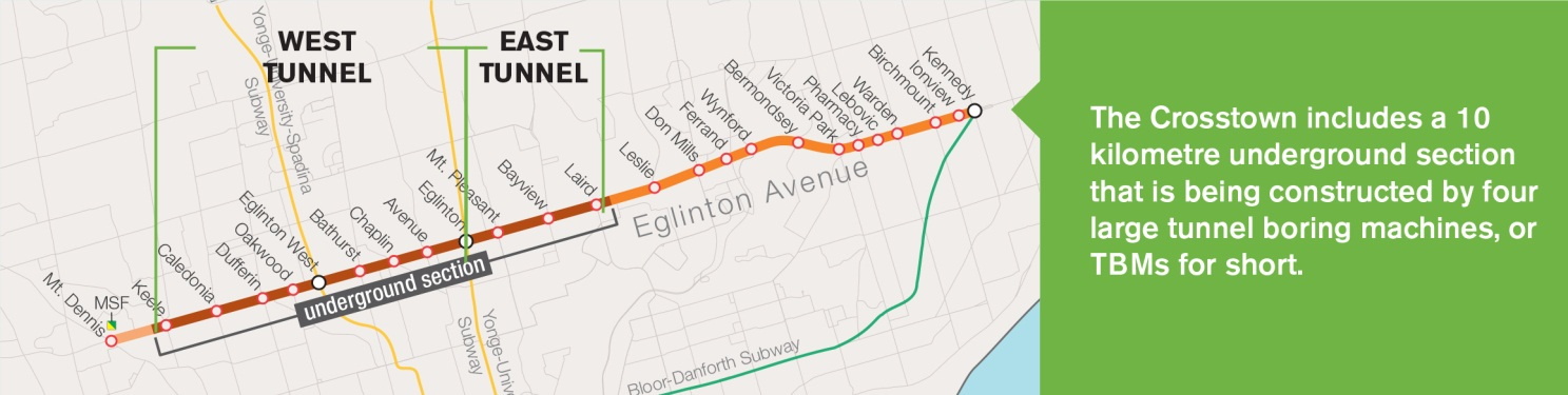 Map of Crosstown west v east tunnels