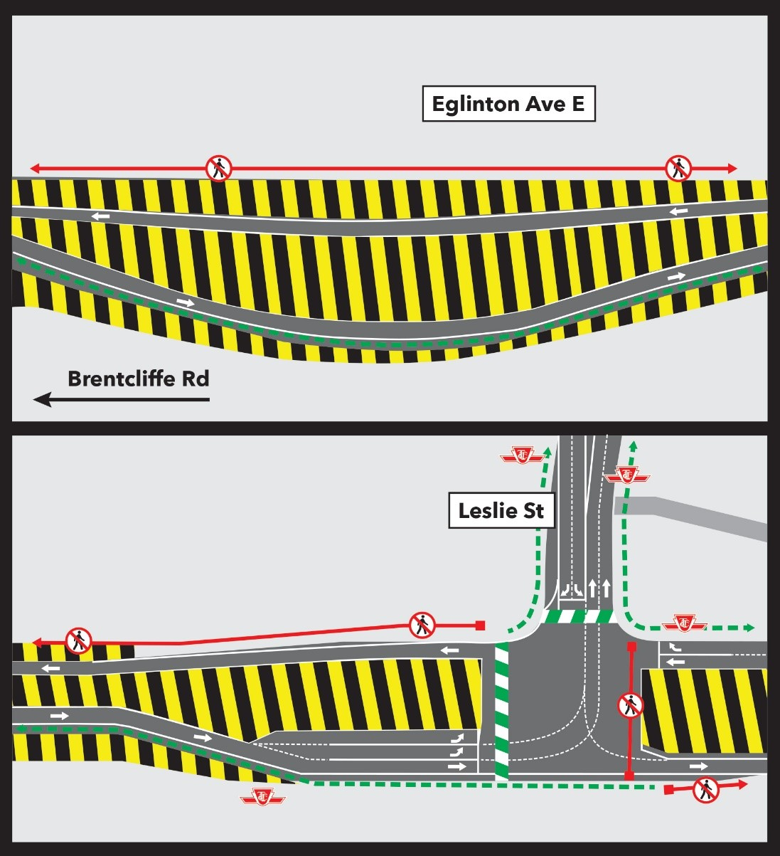 Lane Realignment on Eglinton Ave E, west of Leslie Street for Road Works