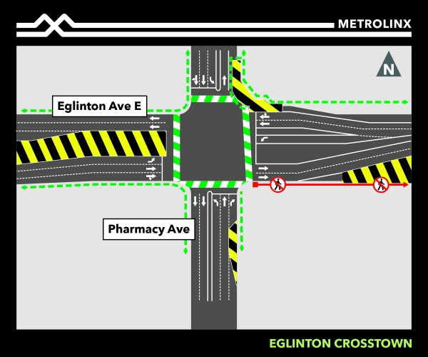 North east corner lane reductions at Pharmacy